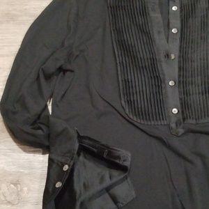 NWOT Black JCrew Tuxedo Popover Shirt